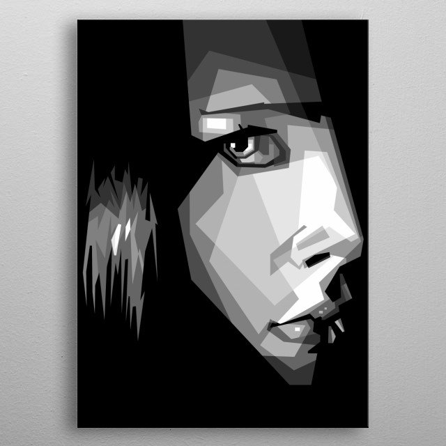 Face cool Pop Art in ilusstration isolated metal poster