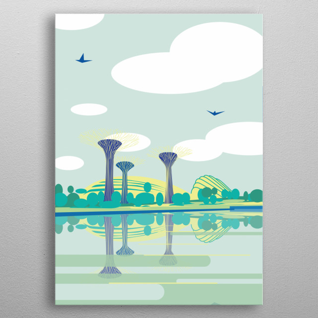 "Illustration of a waterfront in Singapore, specifically the park ""Gardens by the Bay""  metal poster"