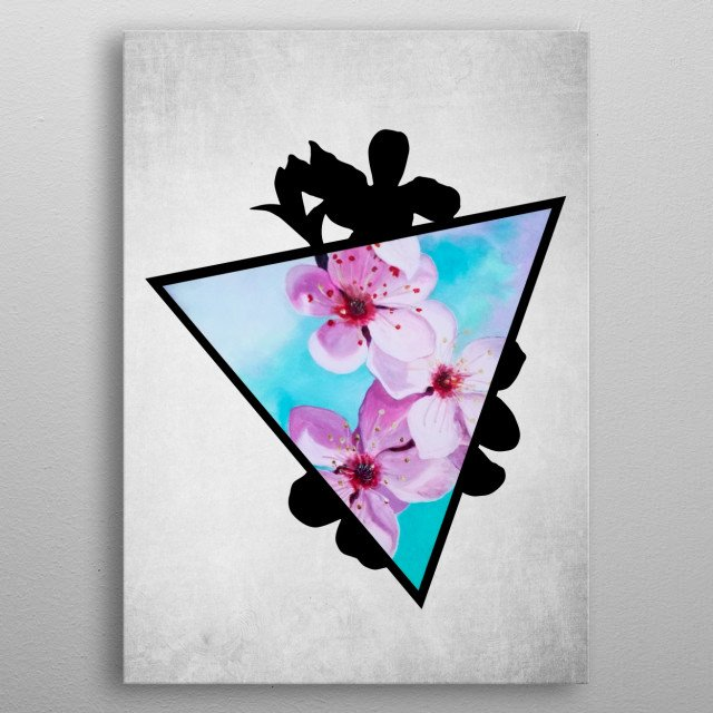 A digital illustration of an acrylic painting of a branch of pink apple blossoms popping out from a triangle. metal poster