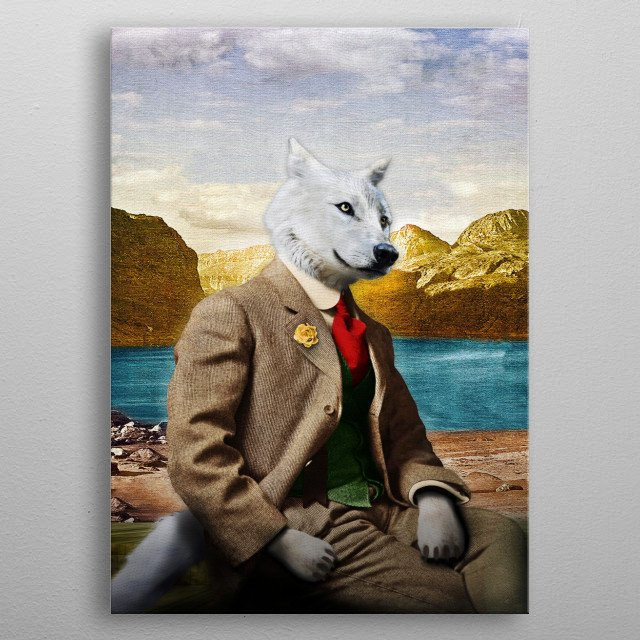 After a hard week at the office, Mr. Wolf loves to relax at his lakeside cabin . . . metal poster