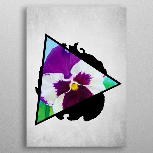 A digital illustration of an acrylic painting of a purple pansy flower popping out from a triangle. metal poster