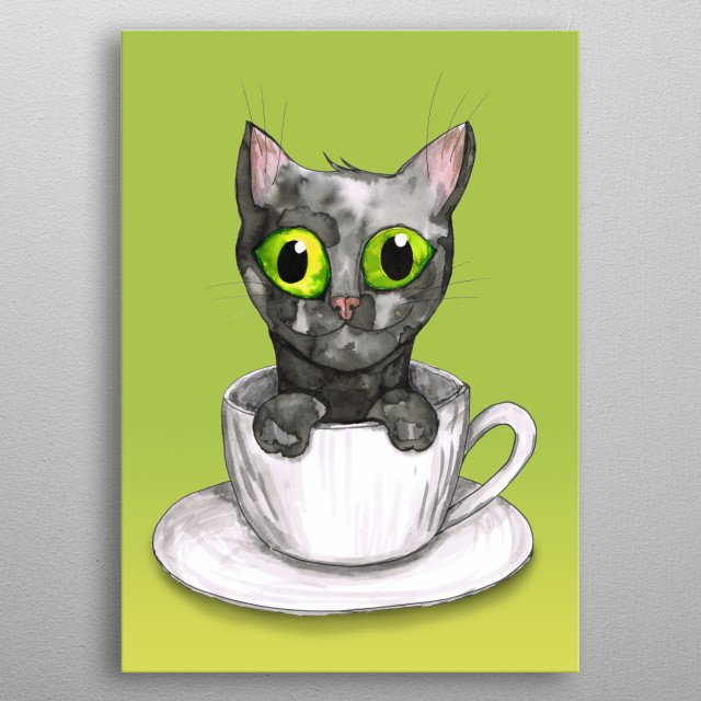 A watercolor painting of a very cute black cat in a coffee cup. He is looking very friendly at you with his big green eyes. metal poster