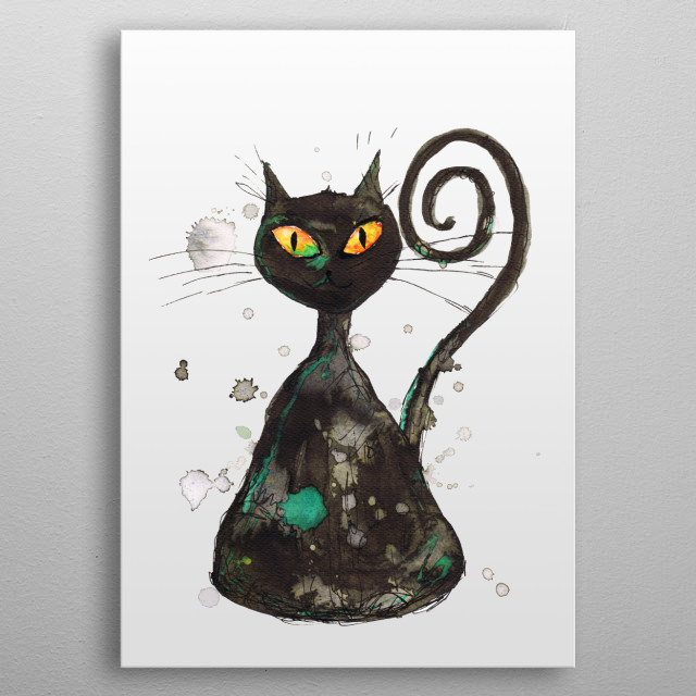 A watercolor painting of a funny mean looking black kitten with orange eyes. Grunge style with drippings metal poster