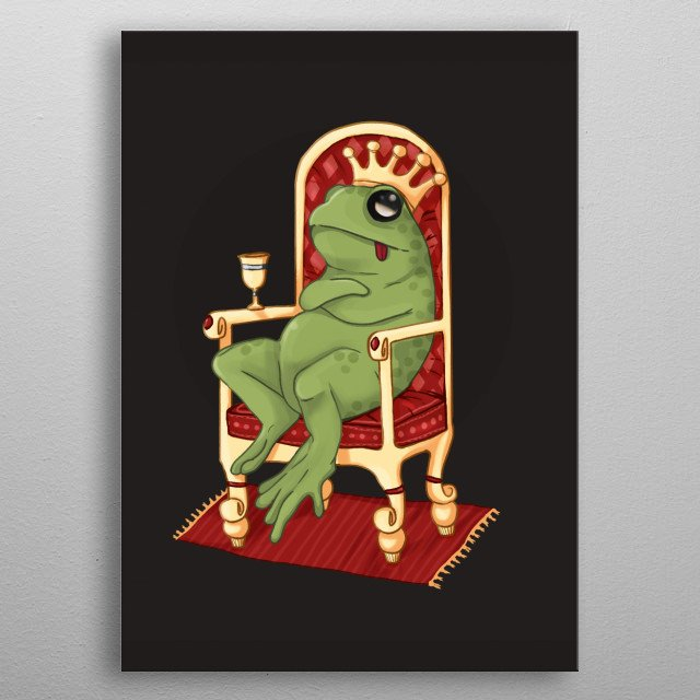 Fat frog on throne metal poster