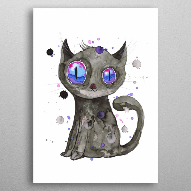 A watercolor painting of a cute black kitten with purple eyes. Grung style with drippings metal poster