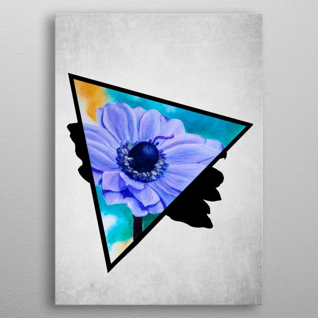 A digital illustration of an acrylic painting of a purple and lavender shade anemone flower popping out from a triangle. metal poster