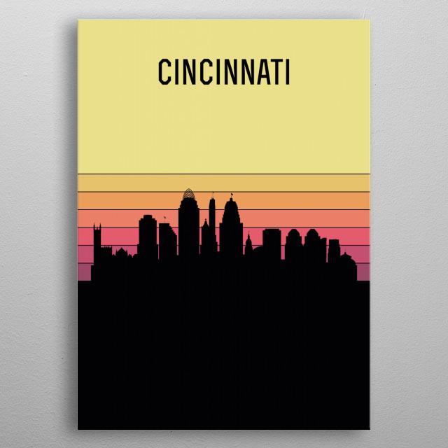 Cincinnati Skyline metal poster