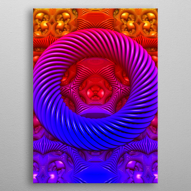 A vividly-colored, 3-D fractal rendering, created with Mandelbulb 3D software. metal poster