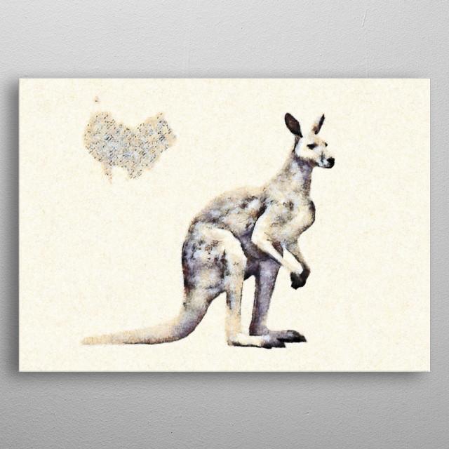 Kangaroo in my fresco style metal poster