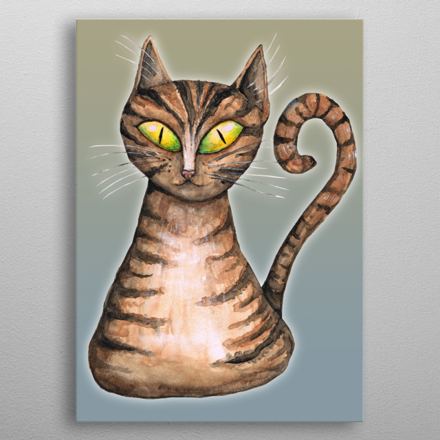 A watercolor painting of a brown striped cat. He had a curly tail en cunning green eyes. metal poster