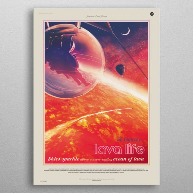 55 Cancri e, is an exoplanet in the orbit of its Sun-like host star 55 Cancri A. metal poster