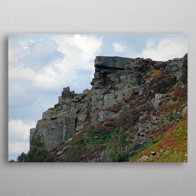 Rocky edge in the Peak District near Sheffield. I have digitally manipulated the image to give it the look of a painting. metal poster