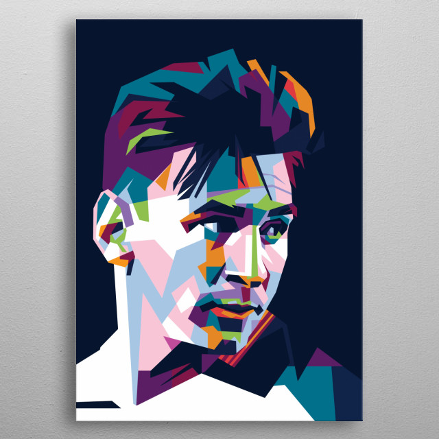Messi barcelona cool color metal poster
