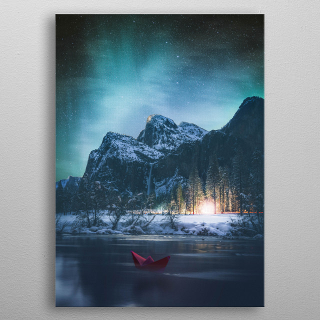 A little red boat under the aurora  metal poster