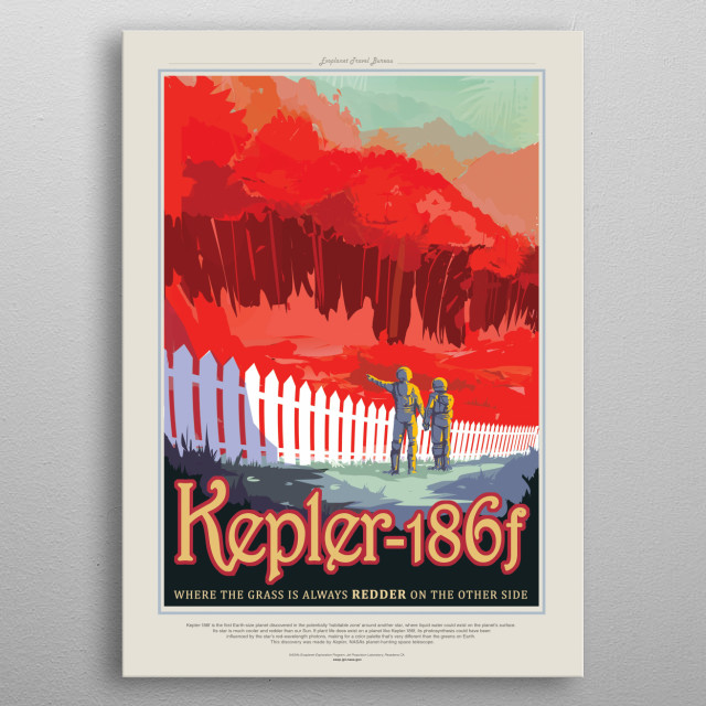 Kepler-186f is an exoplanet orbiting the red dwarf Kepler-186, about 582 light-years from the Earth. metal poster