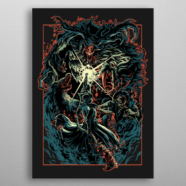 An enormous creature with disfigured horns. With high agility and superhuman strength, this boss should not be taken lightly. metal poster
