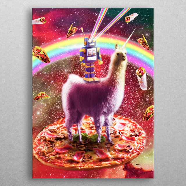 Pick up this funny rainbow galaxy design. This space robot llamacorn design with pizza, taco and burrito makes a perfect gift. metal poster