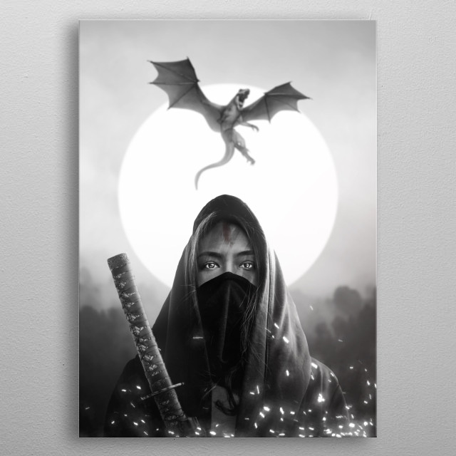 a female warrior and her dragon metal poster