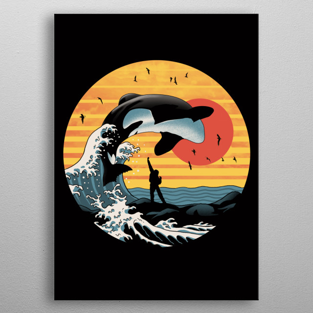 The great killer wave inspired by a popular 90s movie about orcas. metal poster