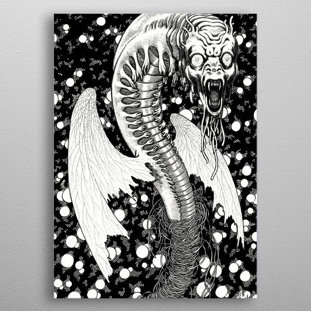 Black Butterfly illustration metal poster