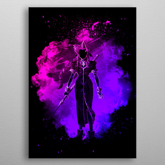 black silhouette of the Flower Merchant metal poster