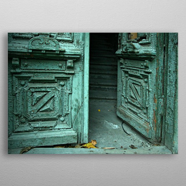 Photo taken by me in 2009 at Rostov. Door and house are not existed any more.  metal poster