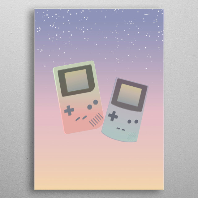 Two pastel gameboys floating in a pastel sky. metal poster