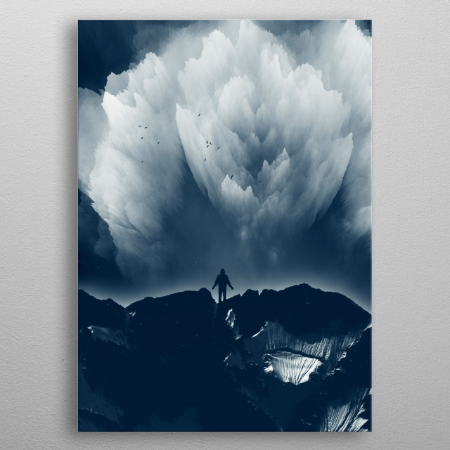 Man standing on a mountain range at night - manipulated surreal photo metal poster