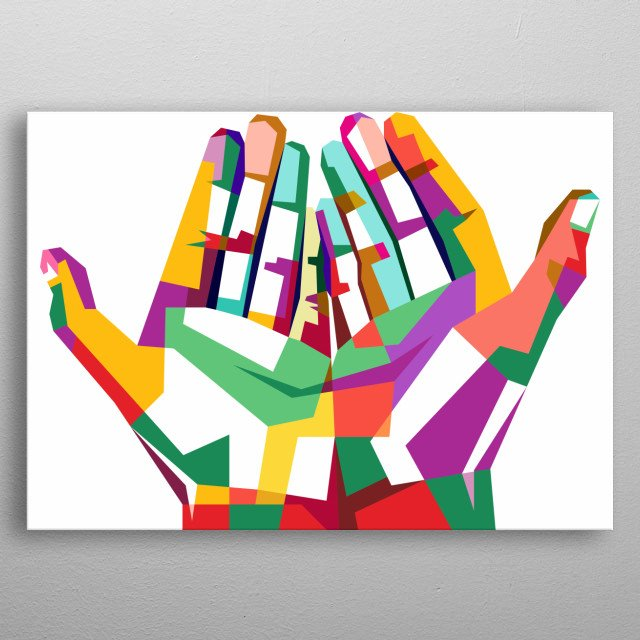 Design illustration with colorful style metal poster