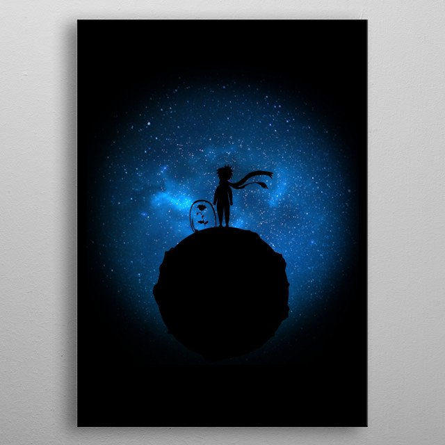 minimalistic Little Prince on the background of the cosmos metal poster