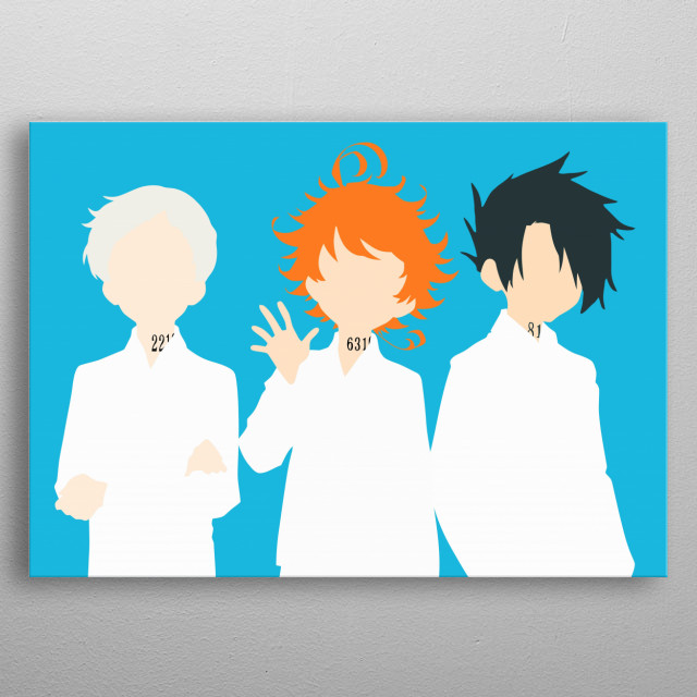 Norman, Emma, Ray - The Promised Neverland metal poster
