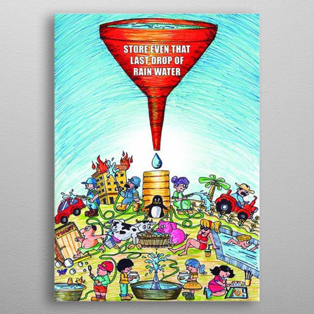 An colorful cartoon illustration about saving the water to avoid global warming. Each of the characters are using the single drop of water.. metal poster