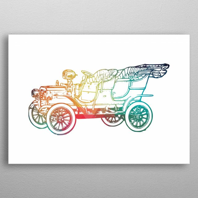 Rainbow old car on white background  metal poster