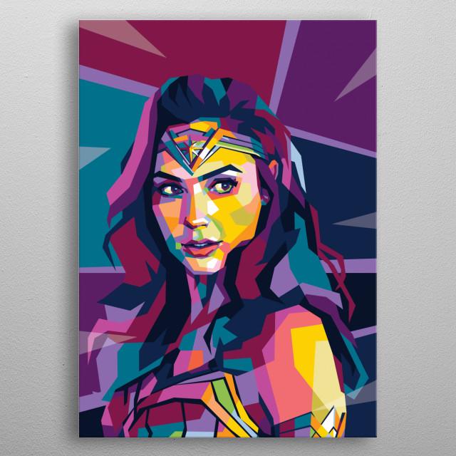 Beautiful gal gadot in wpap pop art style metal poster