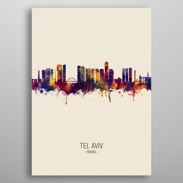 Watercolor art print of the skyline of Tel Aviv, Israel metal poster