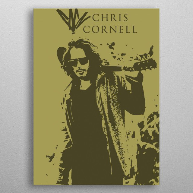 Chris Cornell, from Soundgarden, Audioslave and Temple of the Dog. Monochromatic vector art. metal poster
