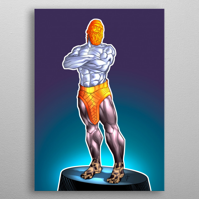 Illustration inspired by the biblical prophecy of King Nebuchadnezzar's dream, the statue of the king. metal poster