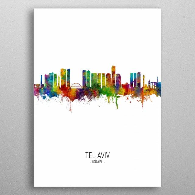 Watercolor art print of the skyline of Tel Aviv, Israel metal poster