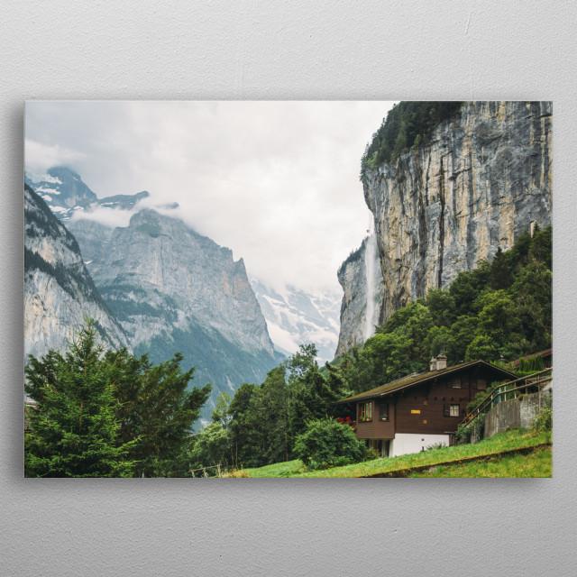 Mountain Alps landscape of Lauterbrunnen in Switzerland metal poster