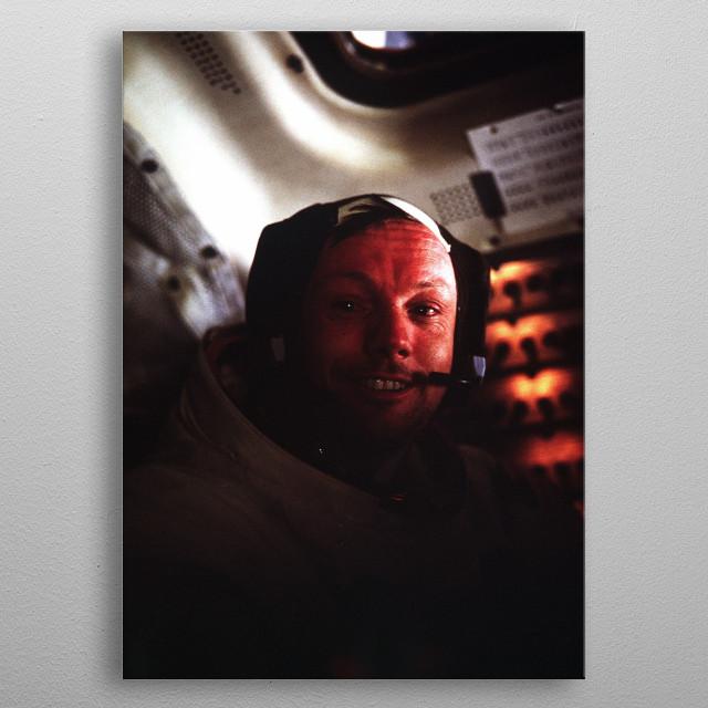 Selfie of NASA astronaut Neil Armstrong (Apollo 11) metal poster