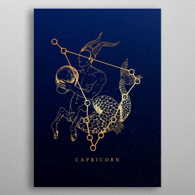 Visual Illustration for the zodiac Capricorn inspired in cosmology and astrology. metal poster