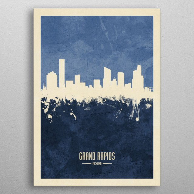 Watercolor art print of the skyline of Grand Rapids, Michigan, United States metal poster
