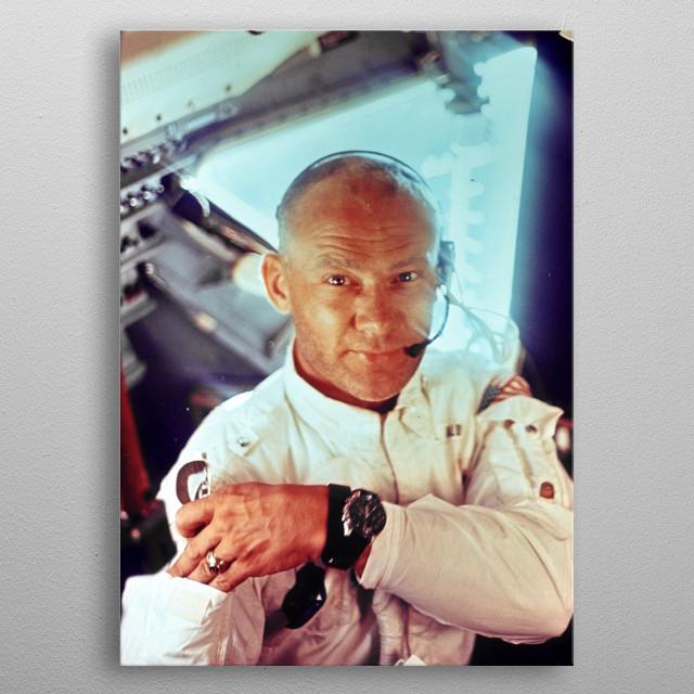 Portrait of NASA astronaut Buzz Aldrin (Apollo 11) metal poster