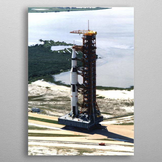 Saturn V rocket being prepaired for launch metal poster