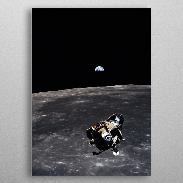 Apollo 11 LEM orbiting the Moon with the Earth in the background metal poster