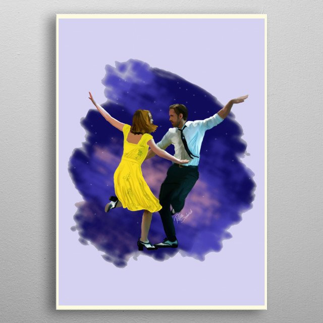 This digital painting is Inspired by the movie La La Land.  metal poster