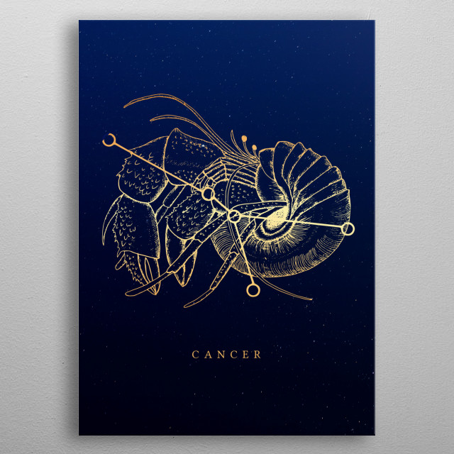 Visual Illustration of zodiac sign Cancer inspired in astrology and cosmology metal poster