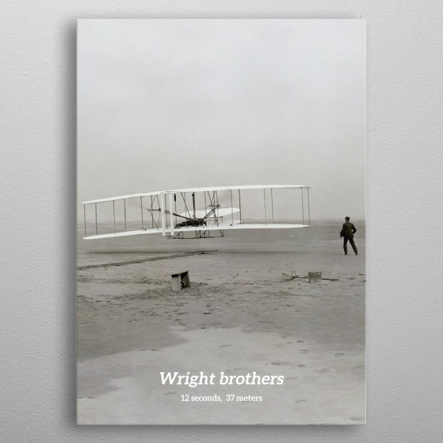 The first flight ever by the wright brothers on 17. dec 1903. metal poster
