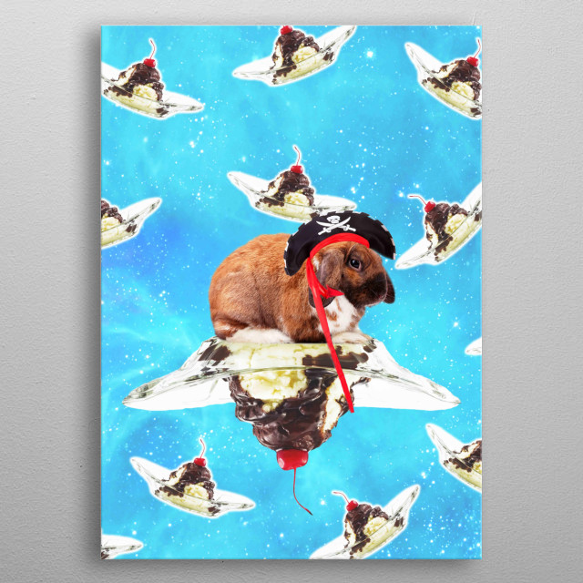 Pick up this funny hipster design with a galaxy Pirate Bunny Rabbit riding on Sundae.  metal poster
