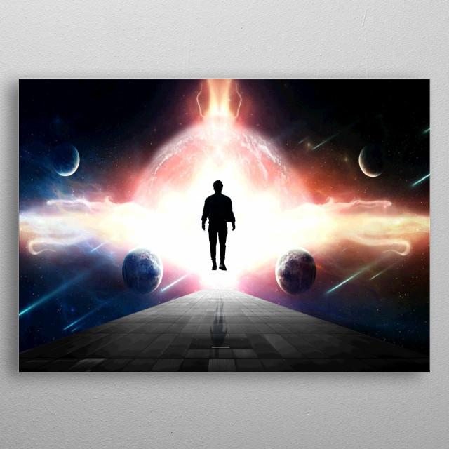 Man levitates between planets metal poster